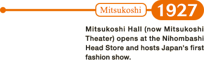 1927: Mitsukoshi Hall (now Mitsukoshi Theater) opens at the Nihombashi Head Store and hosts Japan's first fashion show.